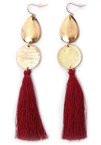J.Jayz Paar Ohrhaken »rote lange Quasten, vergoldfarbenet« kaufen
