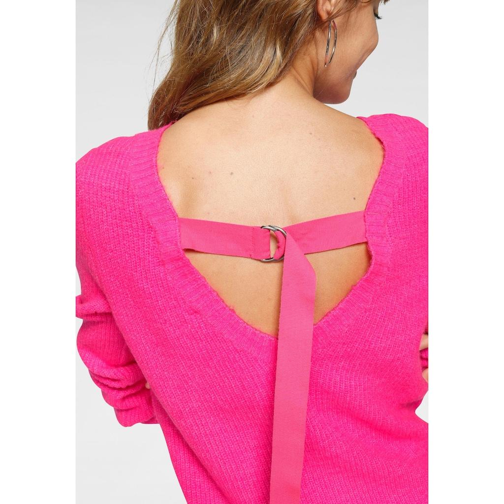 AJC Rundhalspullover, in angesagter Neonfarbe und Rückenausschnitt