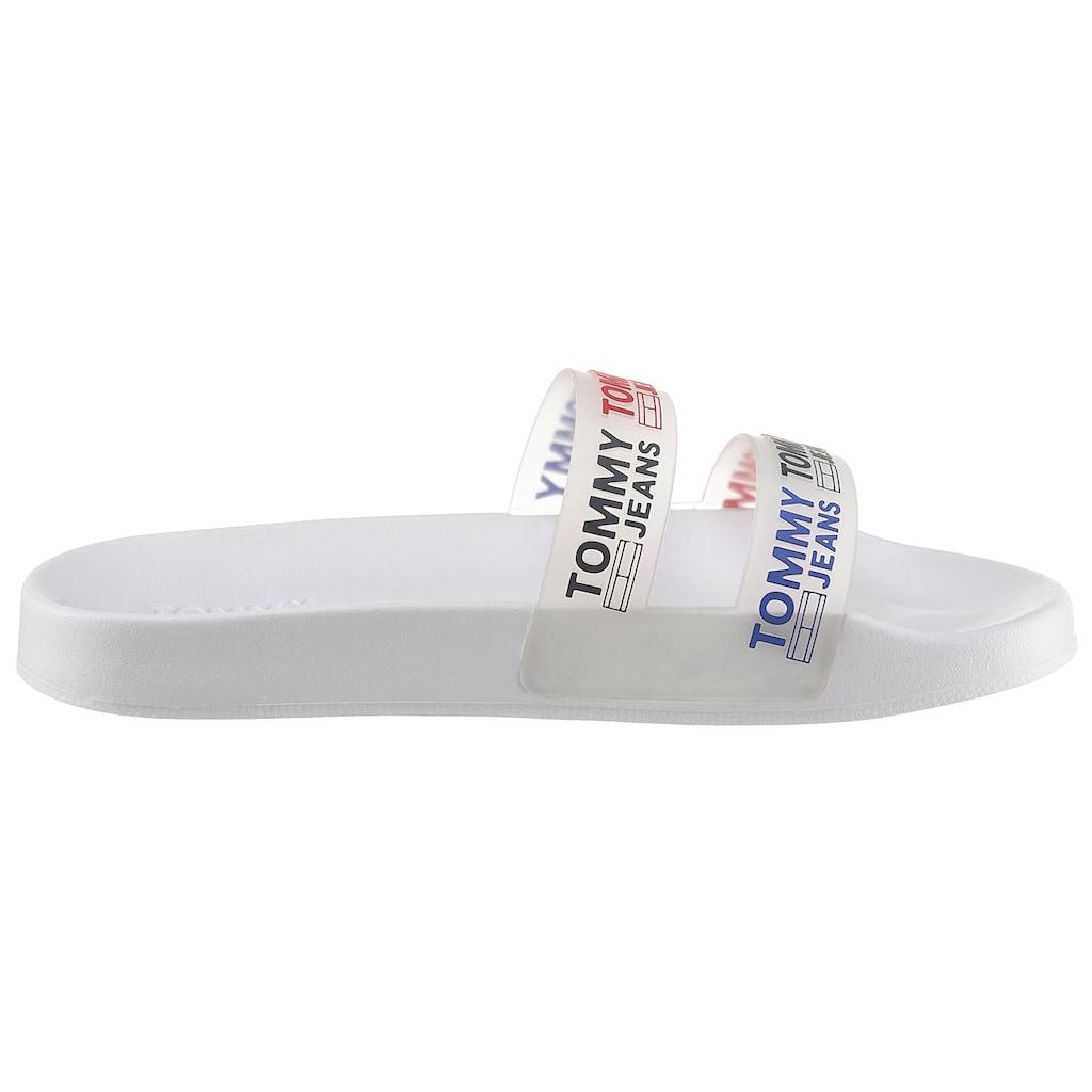 Tommy Jeans Badepantolette »DOUBLE STRAP POOL SLIDE«, für Bad und Strand super geeignet