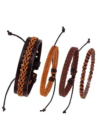 J.Jayz Armband Set »kann auch einzeln getragen werden«, (Set, 4 tlg.), mit Holzperlen kaufen