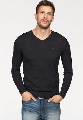 TOM TAILOR V-Ausschnitt-Pullover, mit Logostickerei kaufen