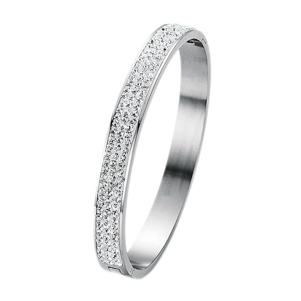 Firetti Armreif »oval, aufklappbar«, mit Kristallsteinen