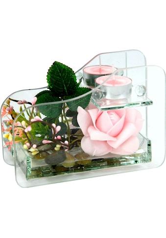 I.GE.A. Kunstpflanze »Rose im Glas mit Teelicht« kaufen
