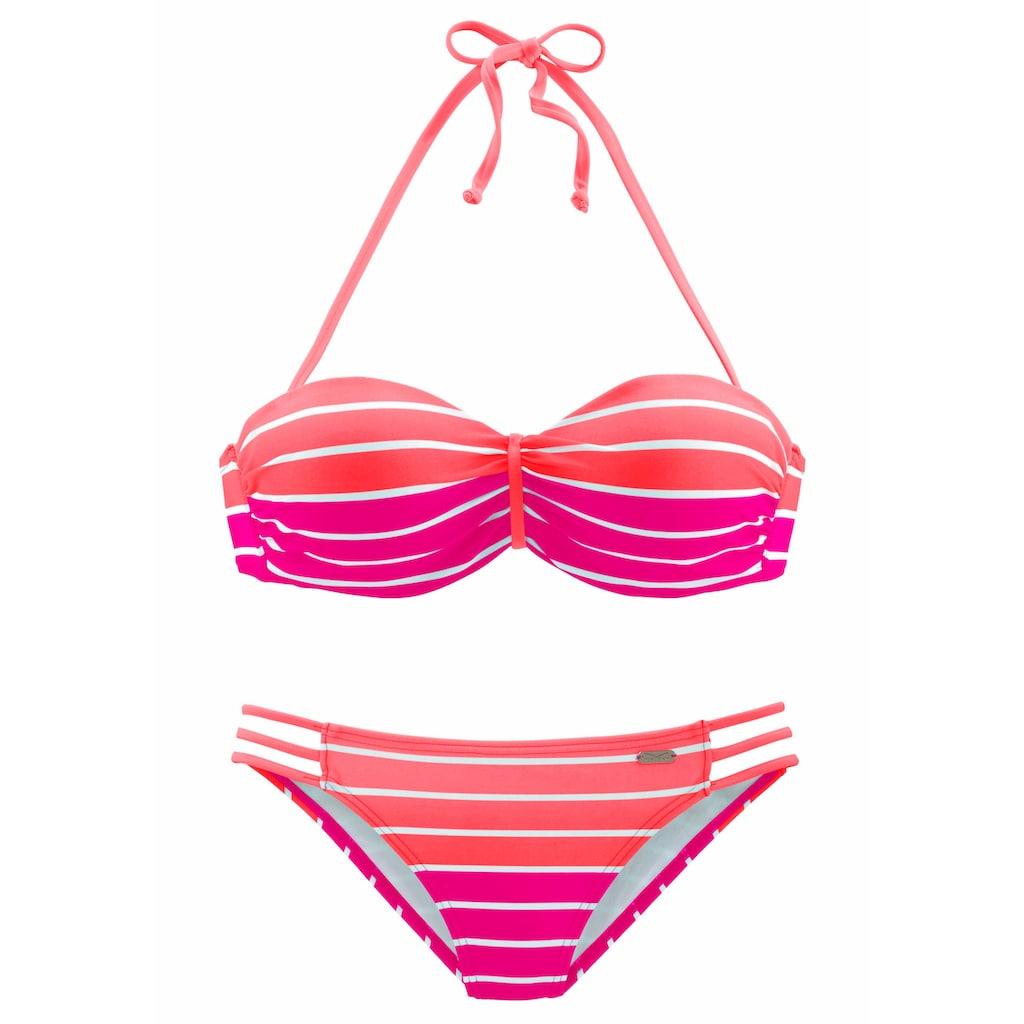 Venice Beach Bügel-Bandeau-Bikini, im trendigen Streifen-Look