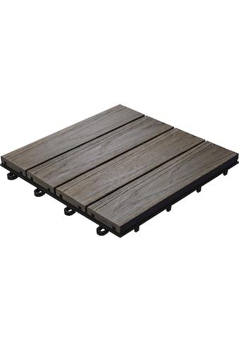 florco® Terrassenplatten »WPC 3D braun 30 x 30, 6 Stk.« kaufen