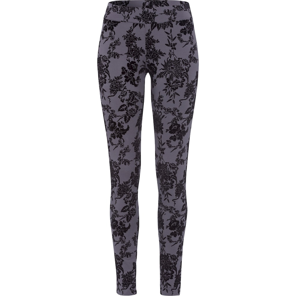 Bench. Leggings, mit samtigem Blumendruck