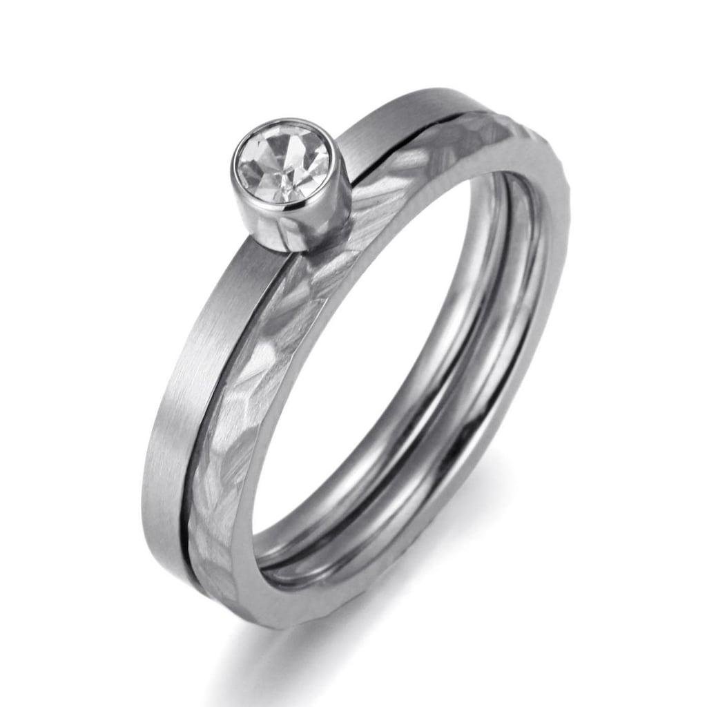 Firetti Ring-Set »zus. 4,0 mm, matt- und glanzoptik, strukturiert, stilvoll«, (Set, 2 tlg.), mit Zirkonia