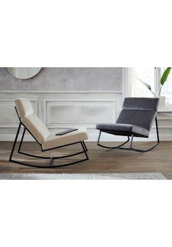 Guido Maria Kretschmer Home&Living Schaukelstuhl »Soel«, mit modernen Metallgestell und weichem Samtvelours Bezug kaufen
