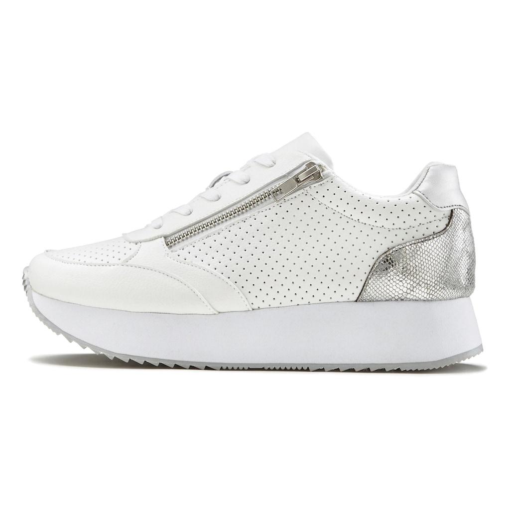 LASCANA Sneaker, Plateau mit Metallic-Einsätzen und angesagter Sohle