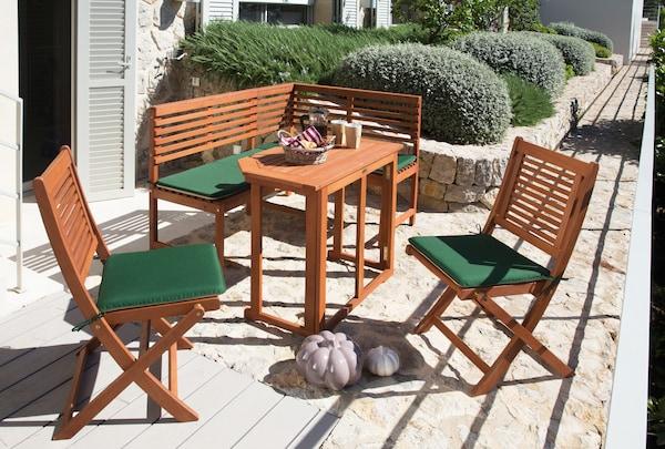 Gartenmöbel-Set mit ausklappbarem Gartentisch