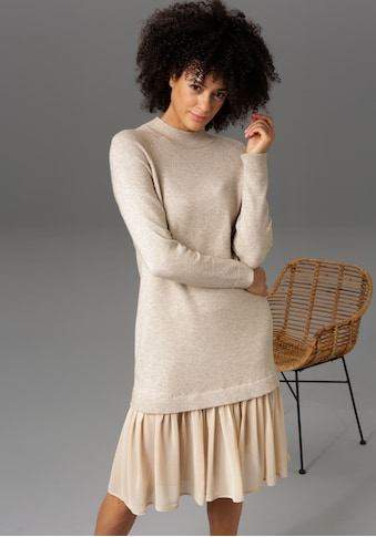 Aniston CASUAL Strickkleid, mit Chiffon-Volant - NEUE KOLLEKTION kaufen