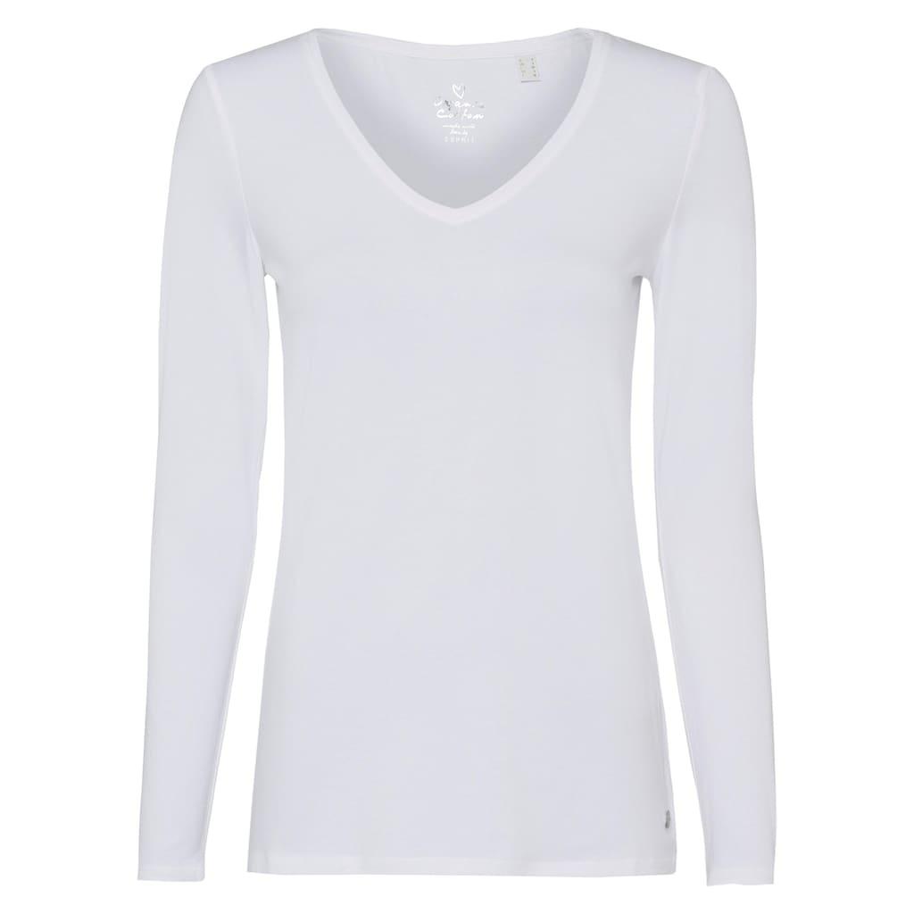 Esprit Langarmshirt, mit modischem V-Ausschnitt