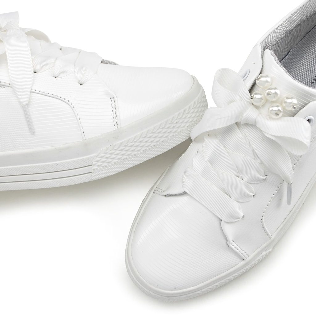 LASCANA Sneaker, mit Plateau und Perlen in Kroko-Optik