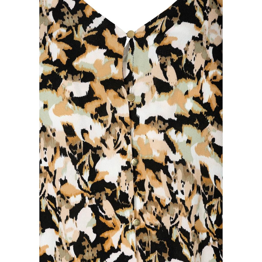 Zizzi Klassische Bluse, mit goldfarbenen Knöpfen