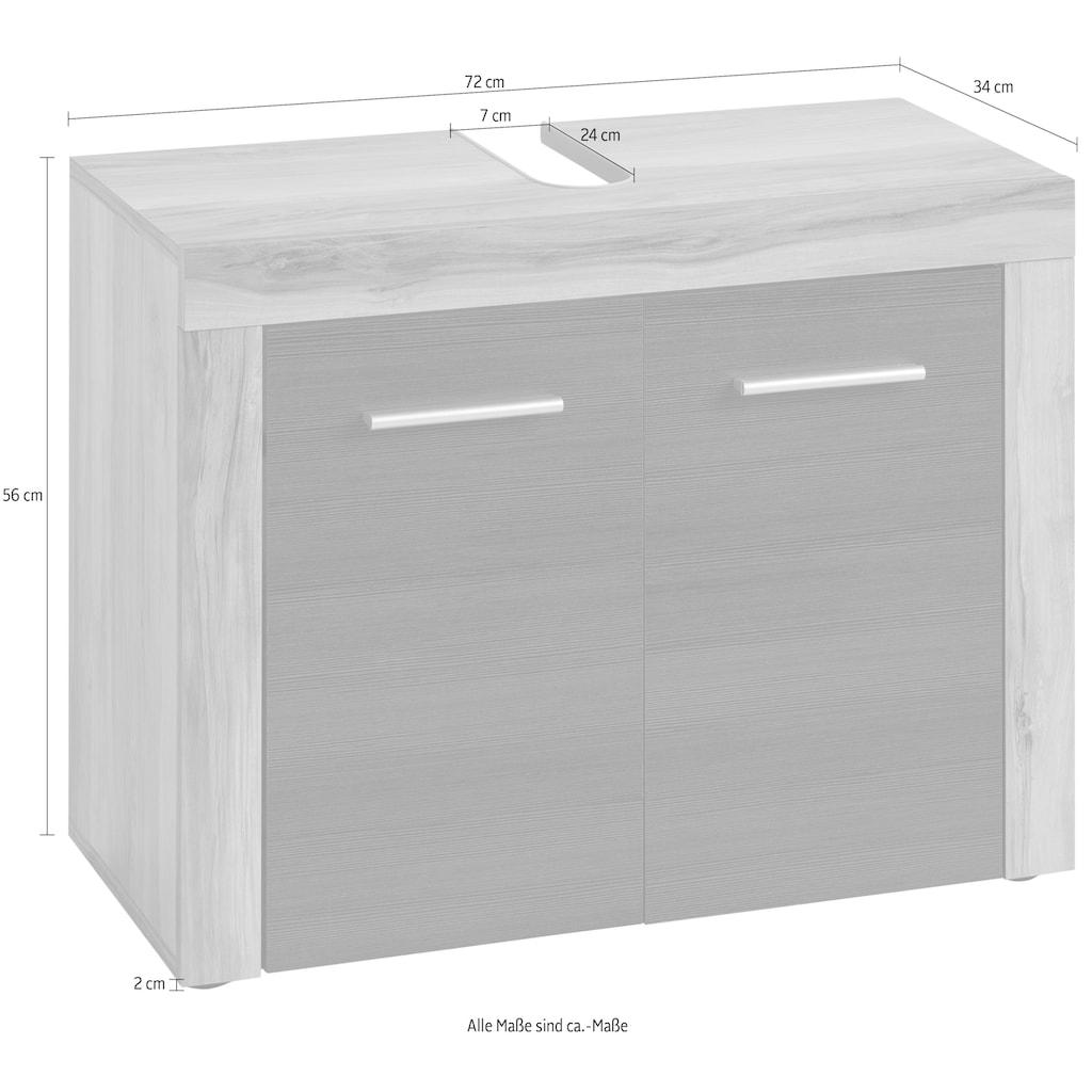 trendteam Waschbeckenunterschrank »CANCUN«, mit Rahmenoptik in Holztönen, Höhe 56 cm