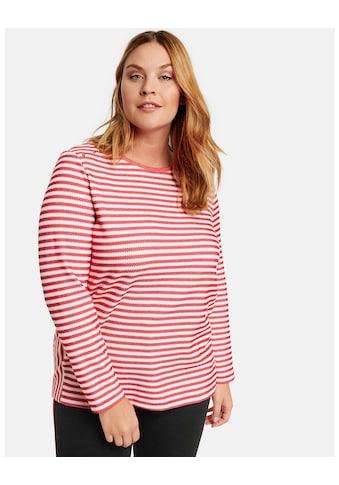 Samoon T - Shirt Langarm Rundhals »Ringel - Shirt aus Struktur - Jersey« kaufen