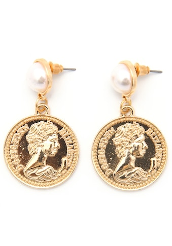J.Jayz Paar Ohrstecker »Coins, rund, vergoldfarbenet«, mit Acrylperlen kaufen