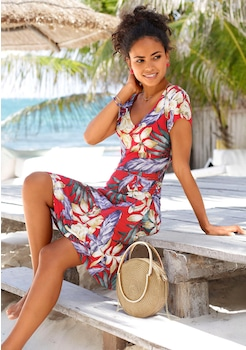 6e6404fc0994 LASCANA Strandkleid mit gerafftem V - Ausschnitt kaufen