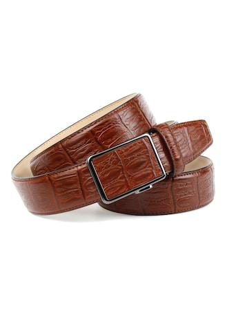 Anthoni Crown Ledergürtel, mit Krokomuster in Cognac kaufen