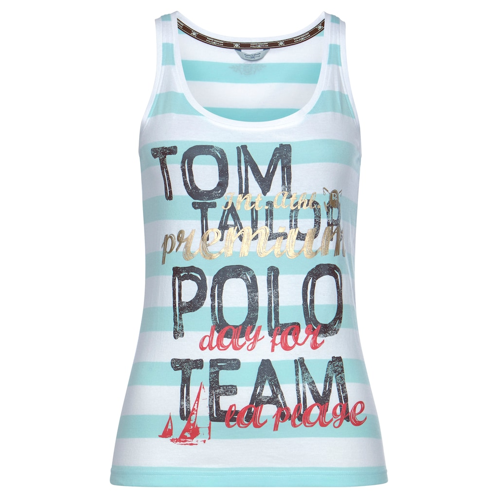 TOM TAILOR Polo Team Tanktop, mit grossem Logo-Druck
