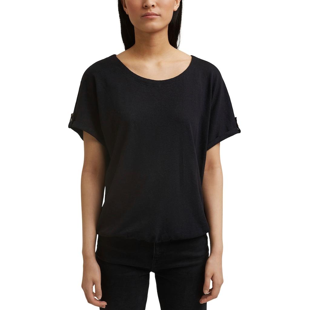 Esprit T-Shirt, in Oversized Schnitt mit weiten Ärmeln und Aufschlag