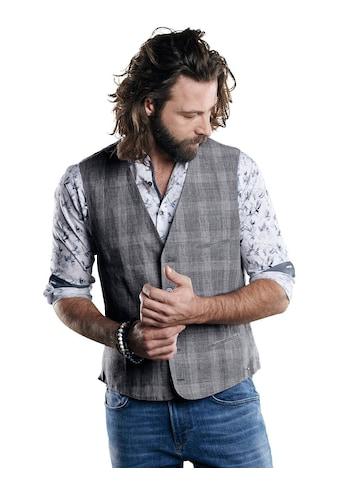 emilio adani Leinen Weste mit modischem Karo-Muster kaufen