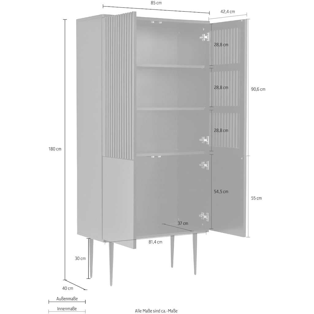 Places of Style Highboard »Saltaire«, In modernem Design, Ganzmetall-Scharniere