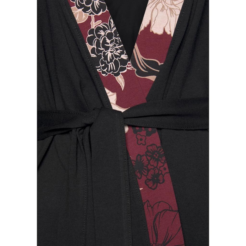 s.Oliver Bodywear Kimono, mit Blumen-Dessin