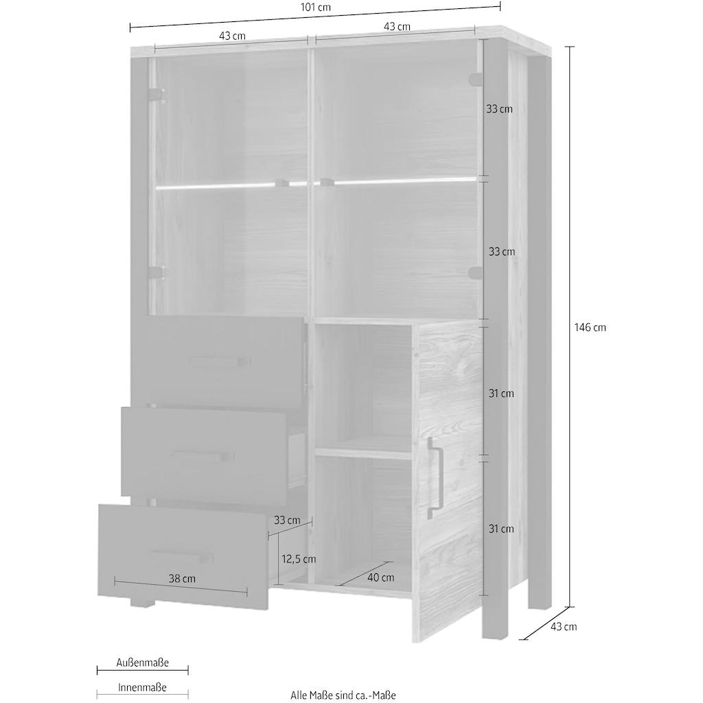 TRENDMANUFAKTUR Vitrine »Olin«, Höhe 146 cm