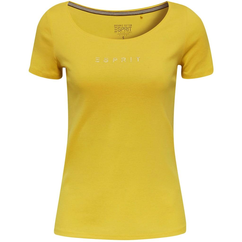 Esprit T-Shirt, mit dezenter Logoapplikation am Saum