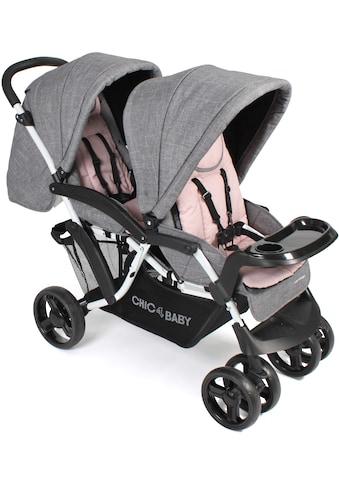 CHIC4BABY Geschwisterwagen »Doppio, Melange Rosa«, 30 kg, Kinderwagen, Kinderwagen für... kaufen
