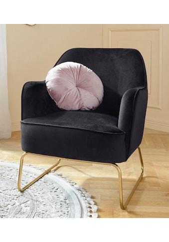 Leonique Sessel »Semois«, aus schönem weichen Velvet Bezug, mit messingfarbenen Beingestell aus Metall, Sitzhöhe 43 cm kaufen
