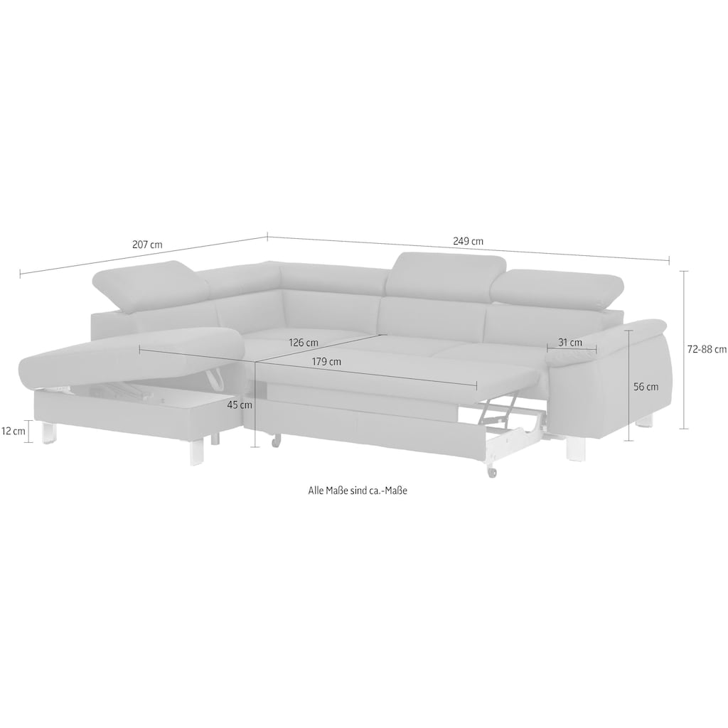 COTTA Ecksofa »Komaris«, inklusive Kopfteilverstellung, wahlweise Bettfunktion/Bettkasten, LED/RGB