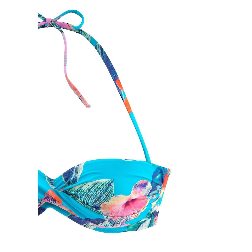 LASCANA Bügel-Bandeau-Bikini, sommerlich bedruckt