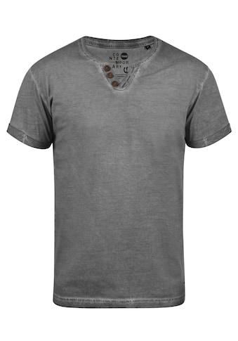 Solid Rundhalsshirt »Tino«, Kurzarmshirt mit Knopfleiste kaufen