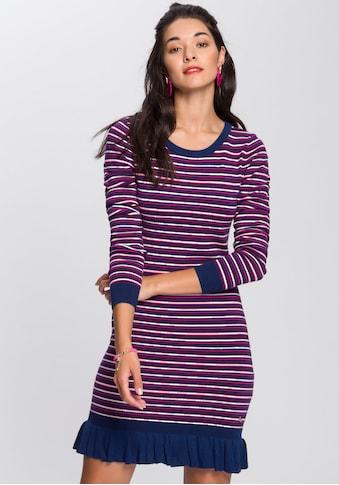 AJC Strickkleid, mit gestricktem Rüschensaum & farbigen Streifen kaufen