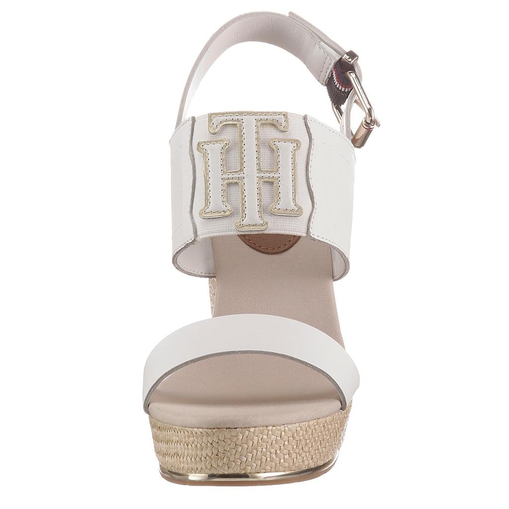 TOMMY HILFIGER High-Heel-Sandalette »TH ELASTIC HIGH WEDGE SANDAL«, mit Elastikeinsatz