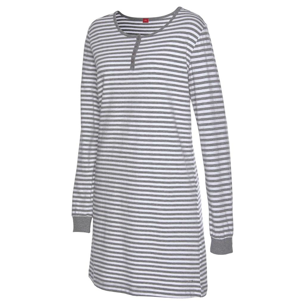 s.Oliver Bodywear Nachthemd, im Streifenmuster mit Knopfleiste