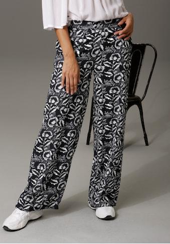 Aniston CASUAL Schlupfhose, mit kontrastfarbenen Blumendruck - NEUE KOLLEKTION kaufen