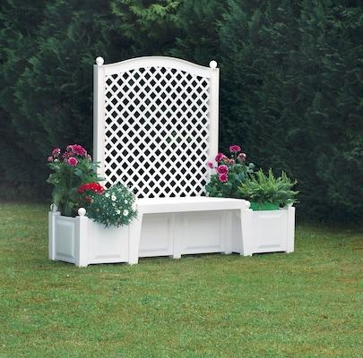 weiße Gartenbank aus Kunststoff mit Bepflanzungsmöglichkeit