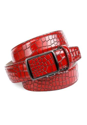 Anthoni Crown Ledergürtel, in rot mit Krokomuster kaufen
