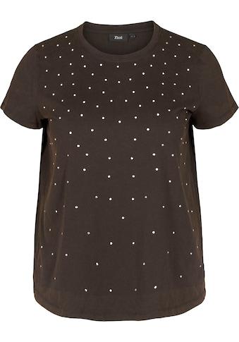 Zizzi Rundhalsshirt, mit Glitzersteinen auf der Vorderseite kaufen