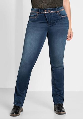 Sheego Stretch-Jeans, mit trendigem Glitterprint kaufen