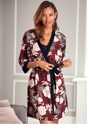 s.Oliver Bodywear Kimono, mit Blumen-Dessin kaufen