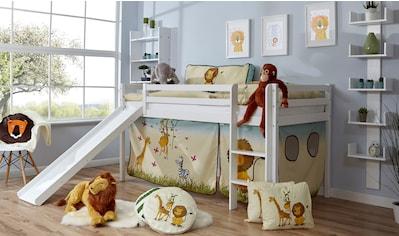Ticaa Hochbett »Rene«, mit Rollrost und Textil-Set wahlweise mit Matratze, Buche kaufen