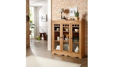 Home affaire Glasvitrine »Melissa«, mit 3 Türen, aus massivem Kiefernholz, mit... kaufen