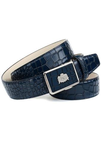 Anthoni Crown Ledergürtel, in Kroko-Optik mit silberfarbenem Wappen kaufen