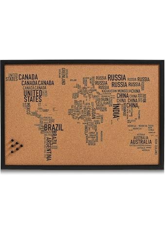 Zeller Present Pinnwand »World Letters«, rechteckig, aus Kork, Motiv Weltkarte kaufen