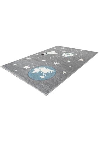LALEE Kinderteppich »Amigo 330«, rechteckig, 15 mm Höhe, Weltall Raketen Motiv kaufen