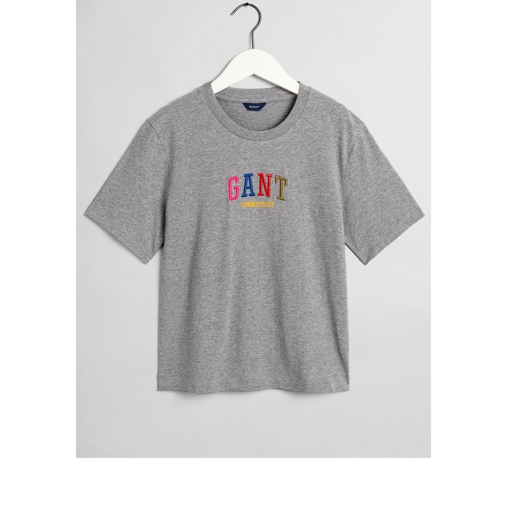Gant T-Shirt, mit bunter Logostickerei